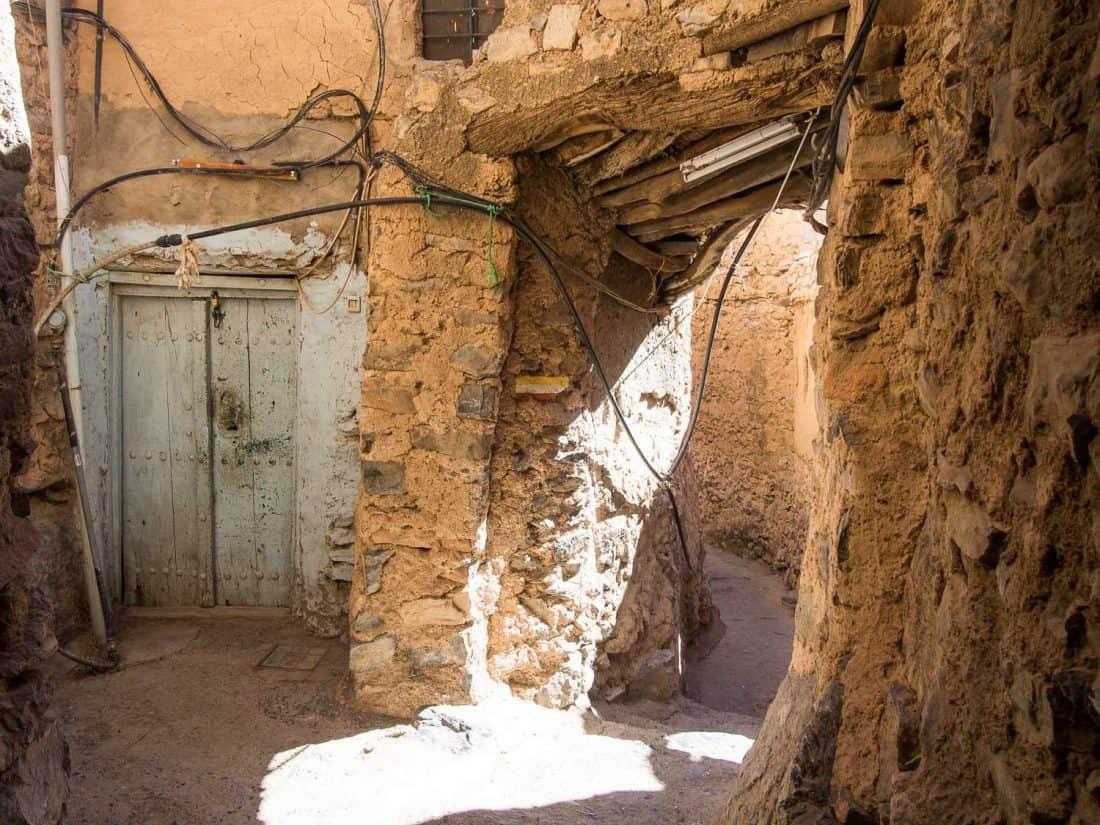 The narrow winding streets of Misfat al Abryeen, Oman
