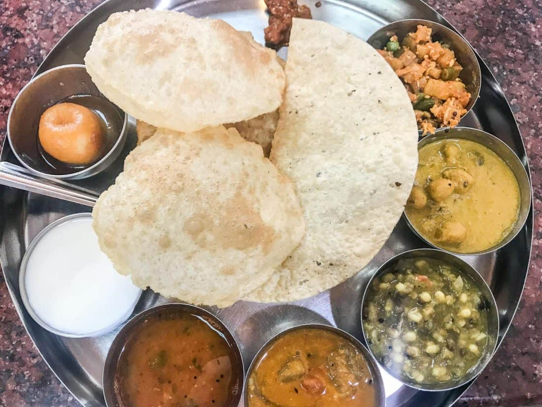 Vegetarian Indian thali at Welcome Restaurant in Mutrah, Muscat