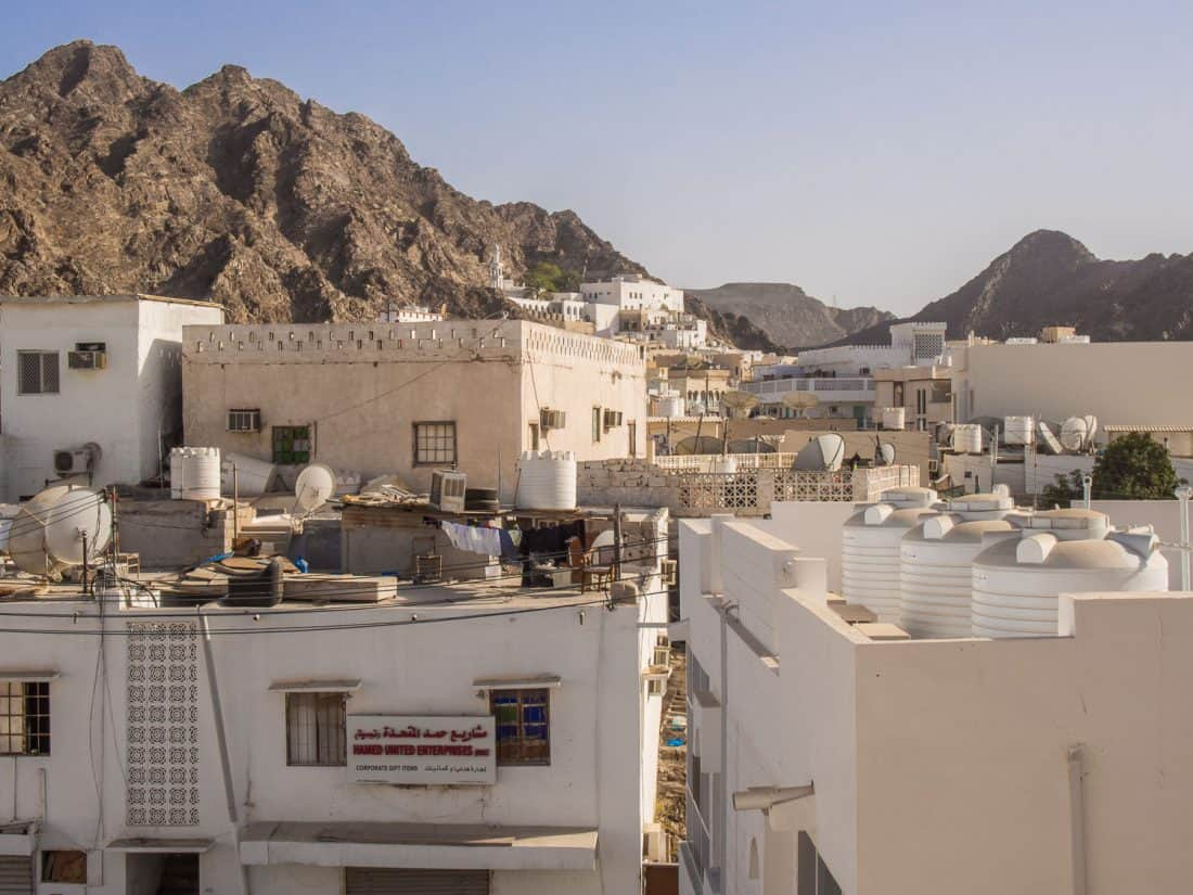 The view from our room at Mutrah Hotel, Muscat