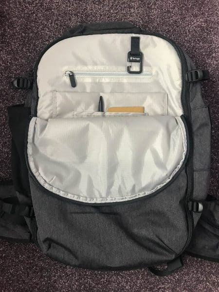 Lots of storage pockets in the easily accessible front compartment on the Tortuga setout backpack