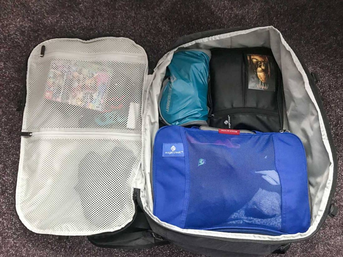 Simon's packing cubes in the main compartment of the Setout backpack