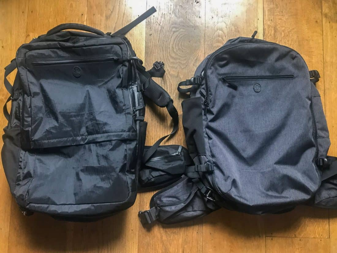 The front of the Outbreaker and Setout backpacks compared