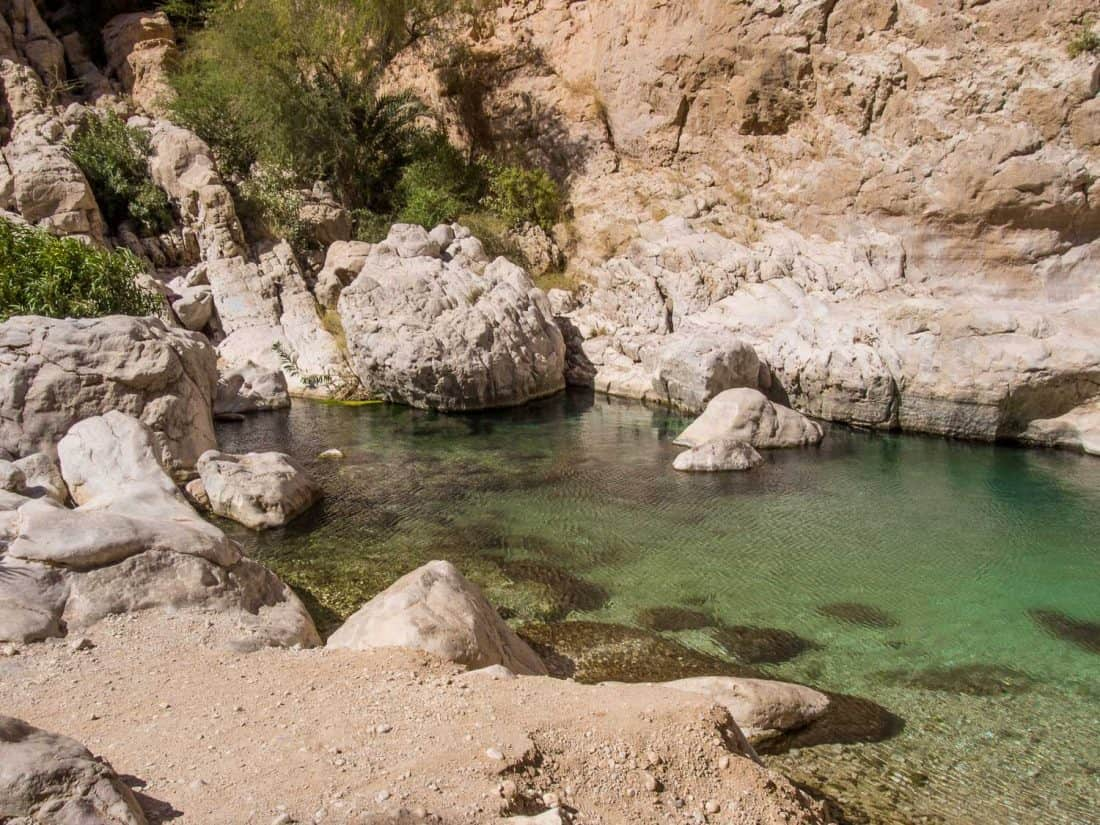 The smaller, quieter upper pools at Wadi Bani Khalid, Oman