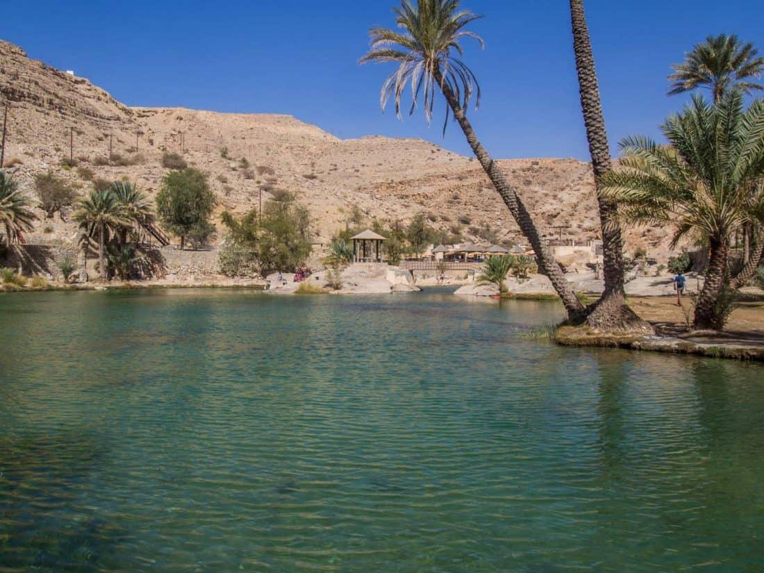 Main pool and restaurant at Wadi Bani Khalid, Oman