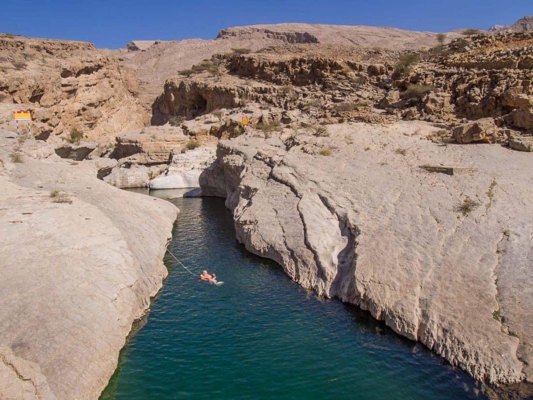Swimming in Narrow ravine at Wadi Bani Khalid, Oman