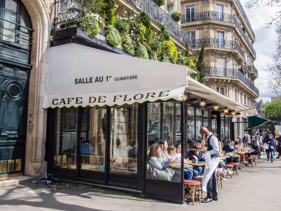 Cafe de Flore in Saint Germain, a stylish neighbourhood in Paris