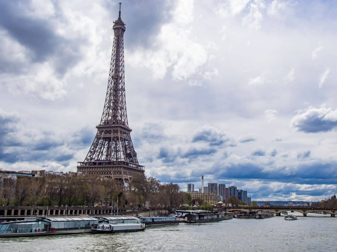 The Eiffel Tower from the Seine river in Paris