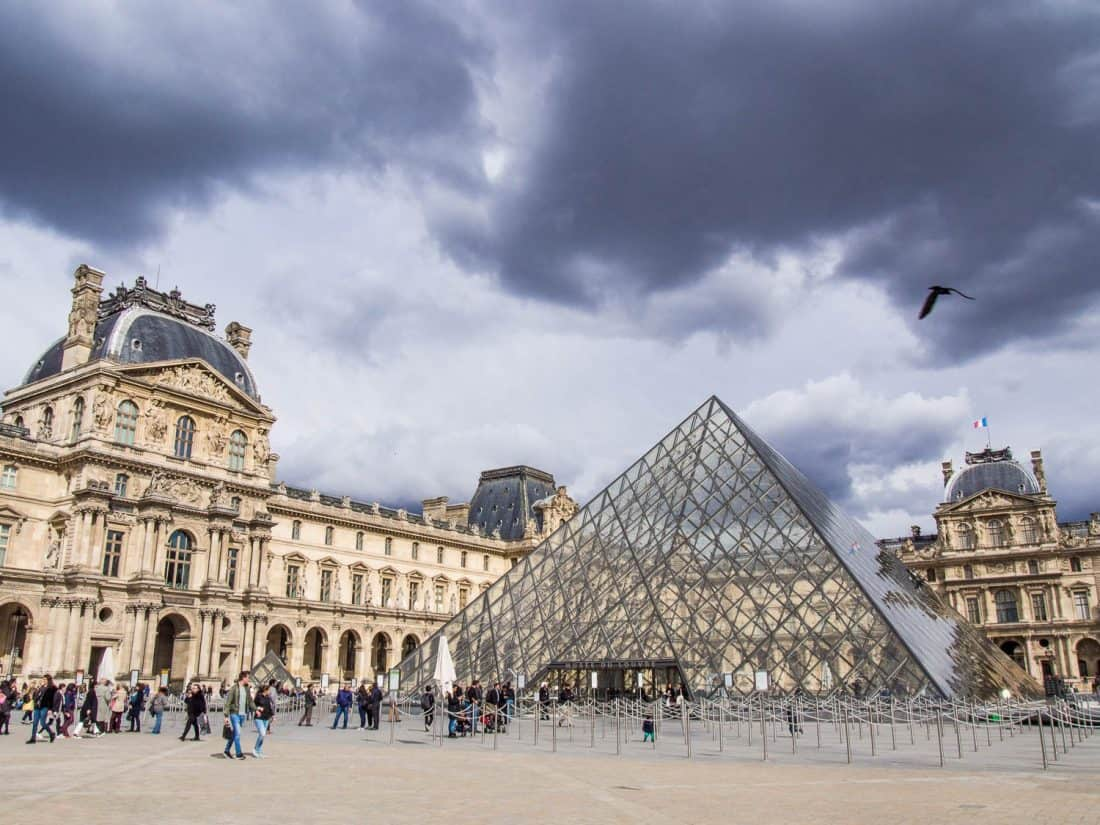The Louvre pyramid, a key stop if you have one day in Paris