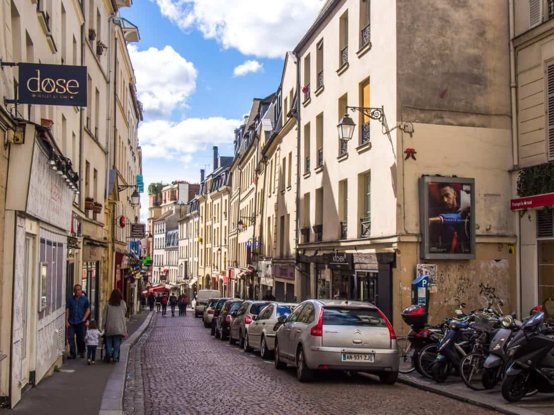 Rue Mouffetard in the Latin Quarter, a stop on our Paris in a day itinerary