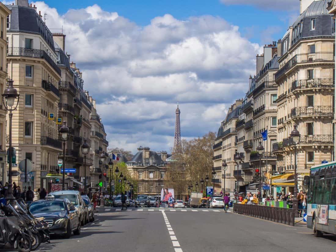 The Eiffel tower from Rue Soufflot by the Pantheon in Paris