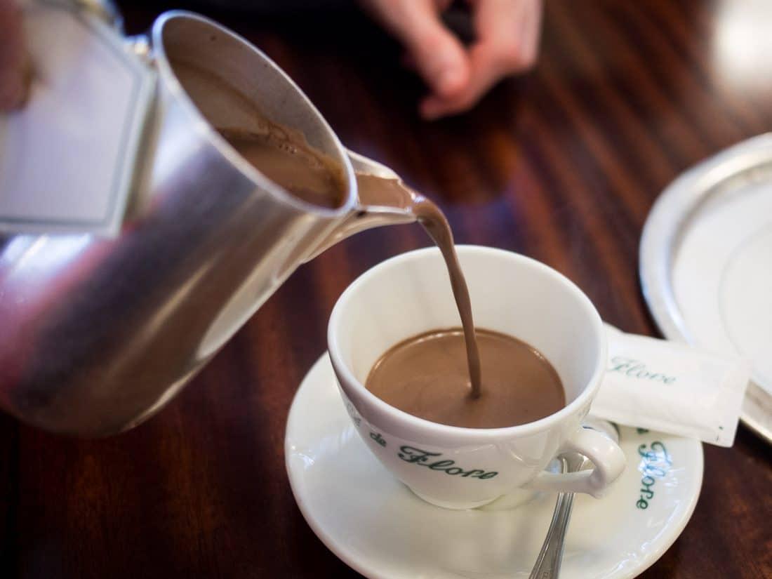Hot chocolate at Cafe de Flore in Paris