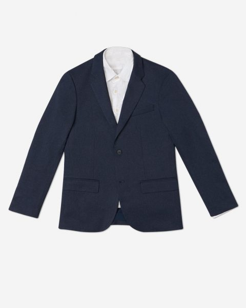 The navy version of the Bluffworks blazer