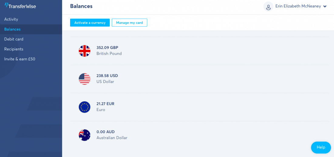 My Transferwise Borderless account showing my balances in pounds, dollars, Euros, and Australian dollars.