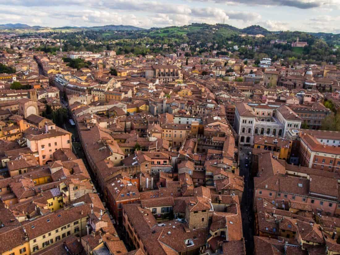 Terracotta roofs in Bologna from the Asinelli Tower, one of the best things to do in Bologna, Italy