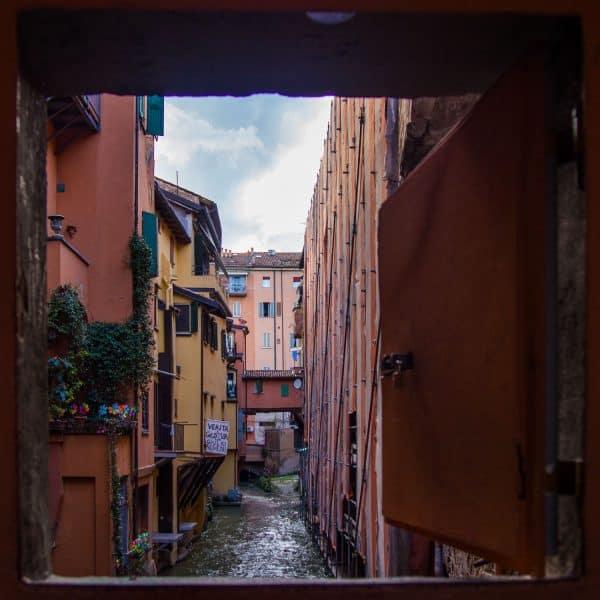 Bologna's canal viewed from the Finestrella di Via Piella