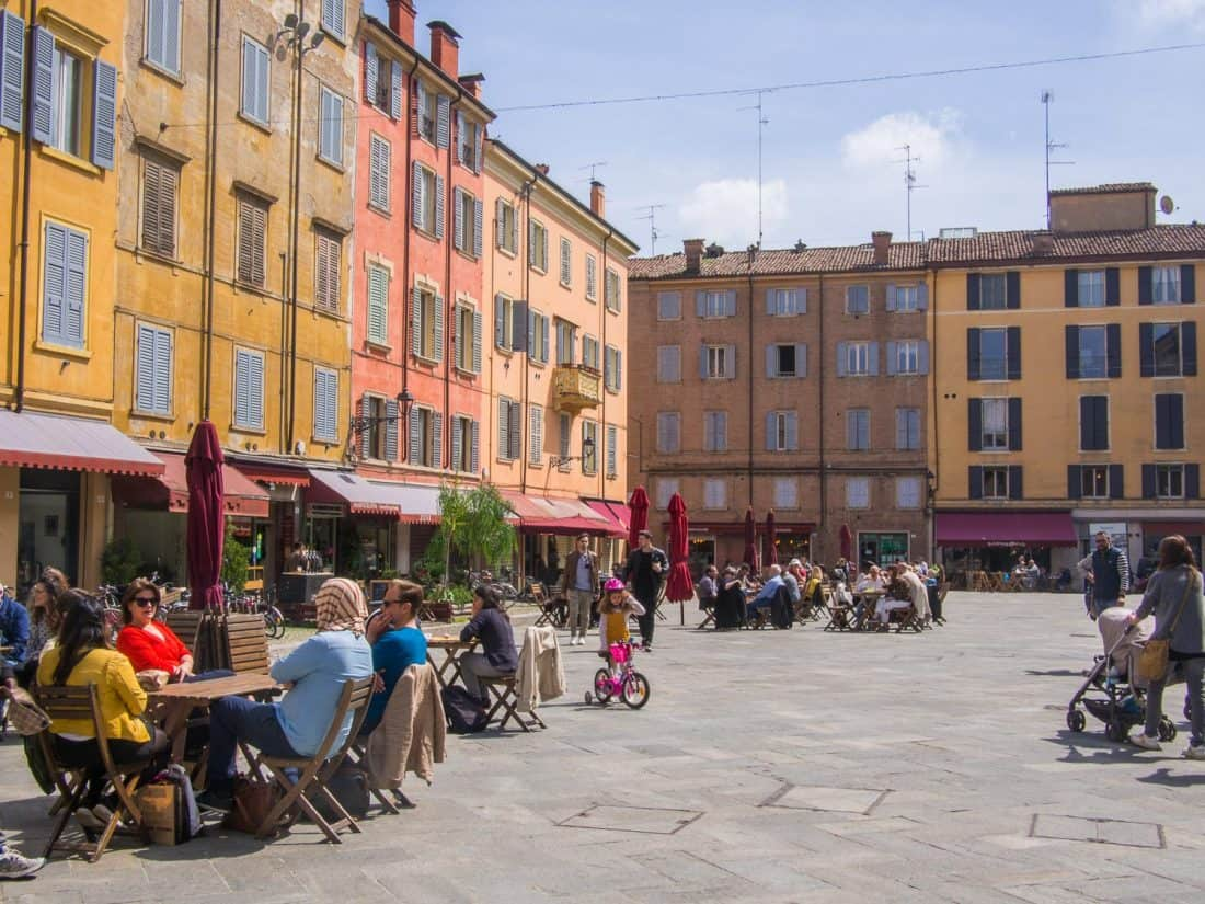 The colourful buildings of Piazza XX Settembre in Modena, Italy