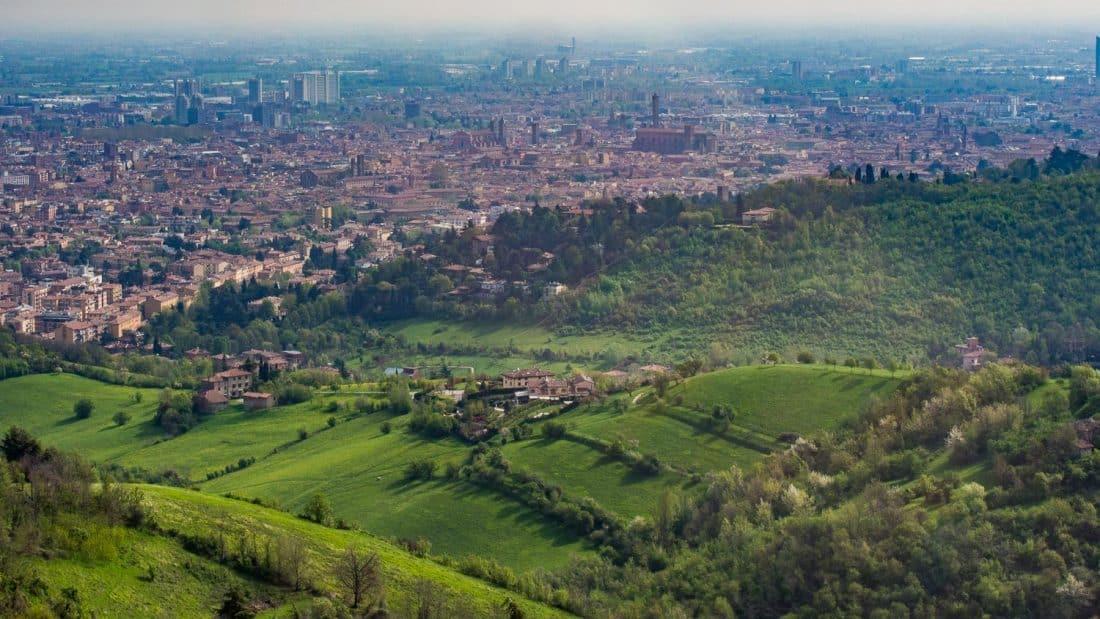 The view from the top of the Santuario di Madonna di San Luca