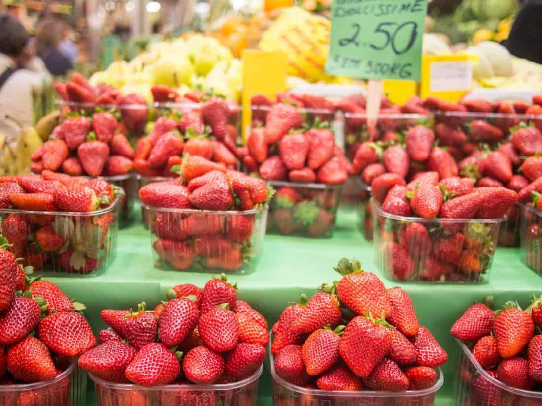 Delicious Basilicata strawberries in April at the Mercato delle Erbe, Bologna