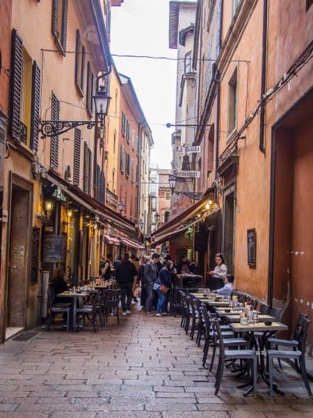 Via Pescherie Vecchie in the Quadrilatero area of Bologna, Italy