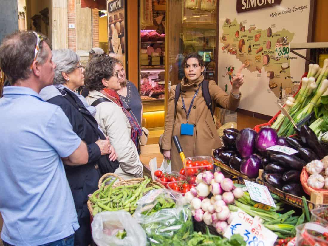 The Quadrilatero market area of Bologna on the Taste Bologna Classic tour