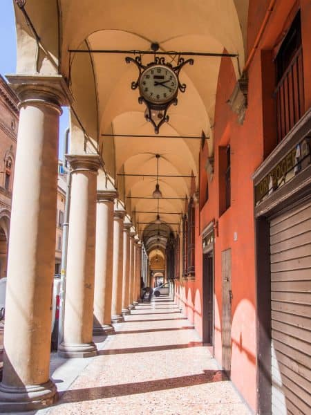 One of the many porticos in Bologna, Italy