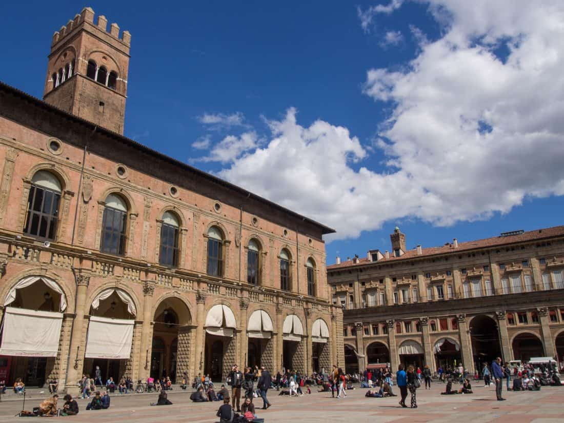 Piazza Maggiore on a sunny spring day in Bologna, Italy