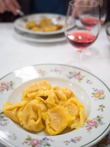 Pumpkin tortelloni and lambrusco at Da Danilo, Modena