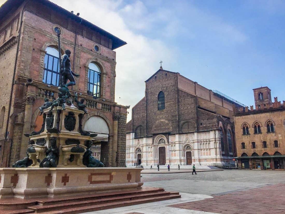 The Neptune Fountain with Basilica di San Petronio in the background, Bologna