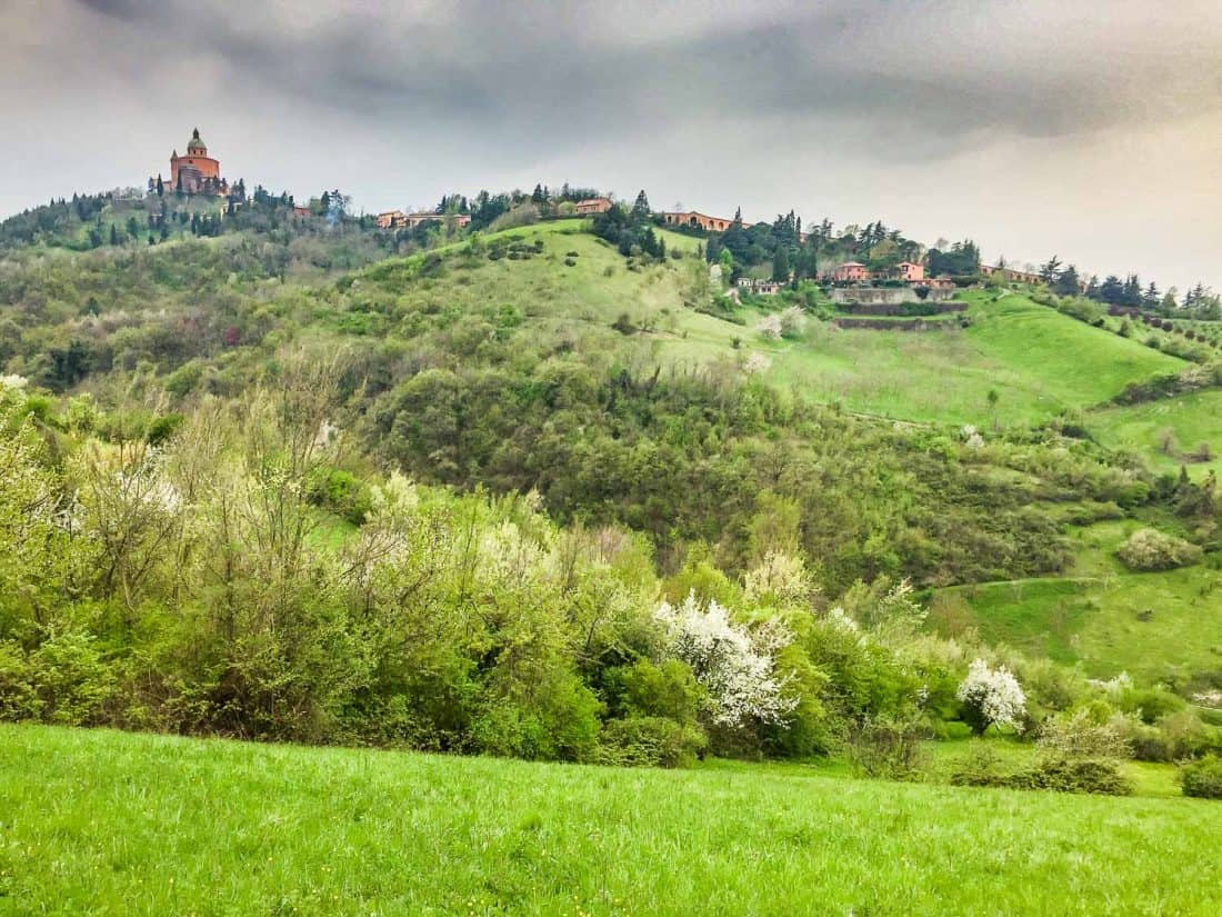 The view of San Luca from San Pellegrino park in Bologna