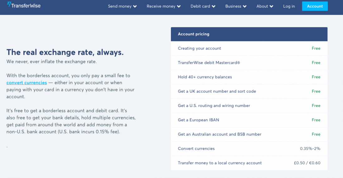 Transferwise Borderless account costs