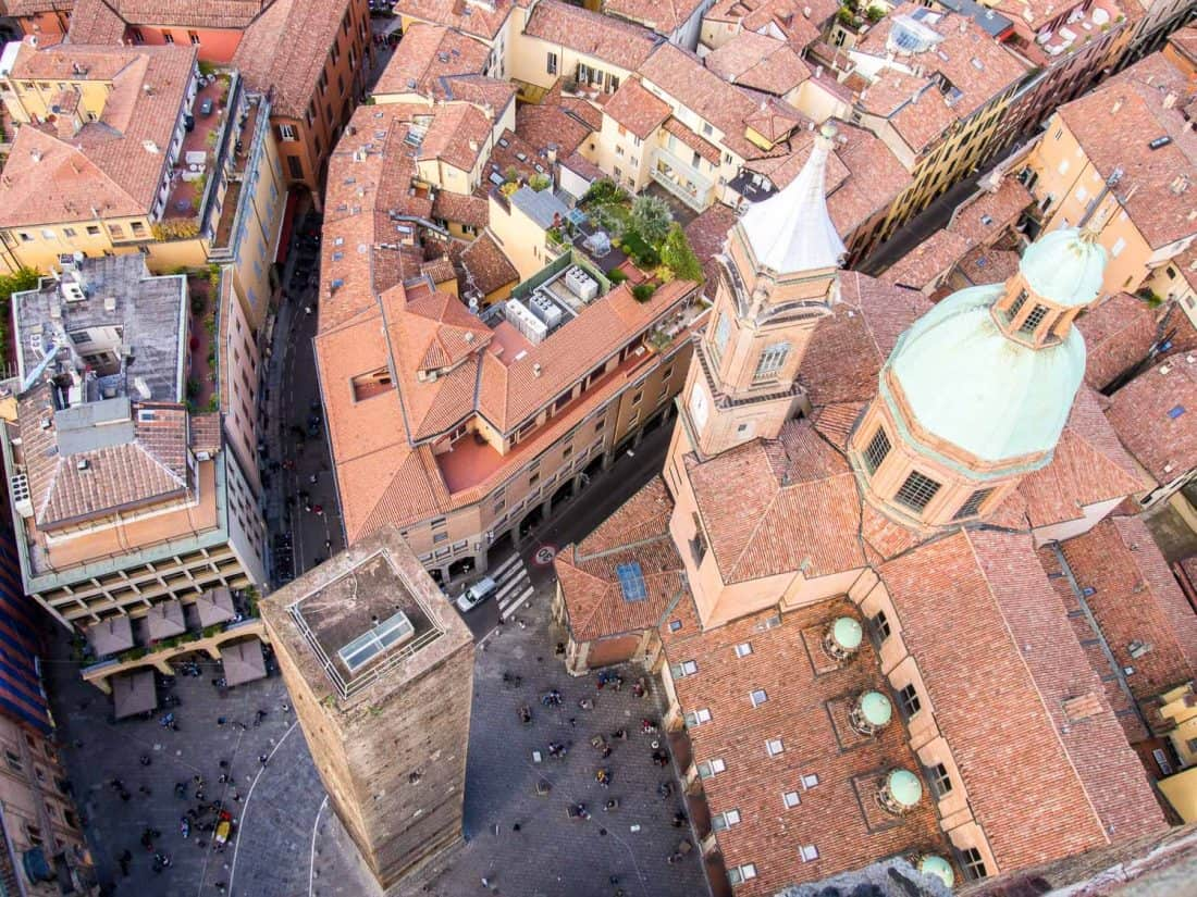 The view from Asinelli Tower, one of the top Bologna attractions