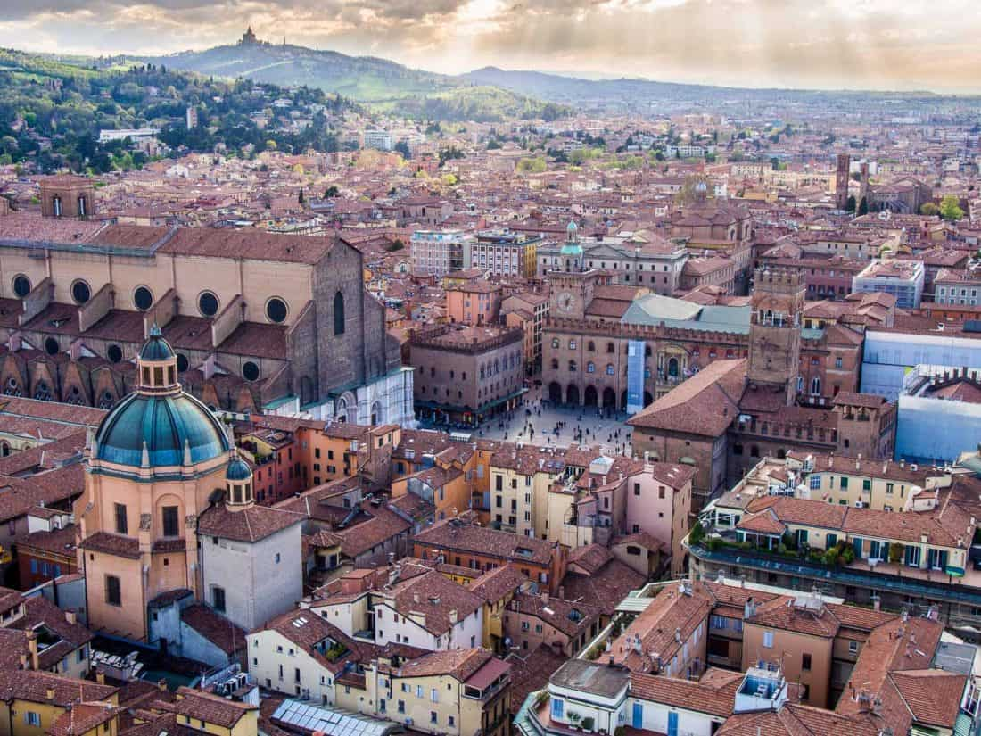 Climbing Asinelli Tower for these views of one of the best things to do in Bologna, Italy