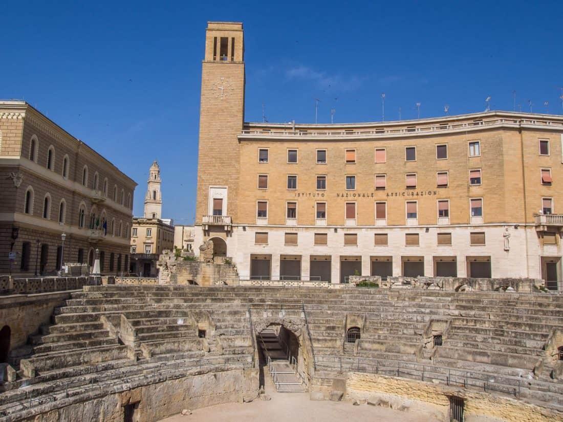 The Roman amphitheatre in Piazza Sant'Oronzo in Lecce, Italy