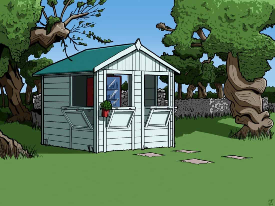 """Simon's illustration of the """"honesty shed"""" by the pool at Masseria Il Frantoio, Puglia, Italy"""