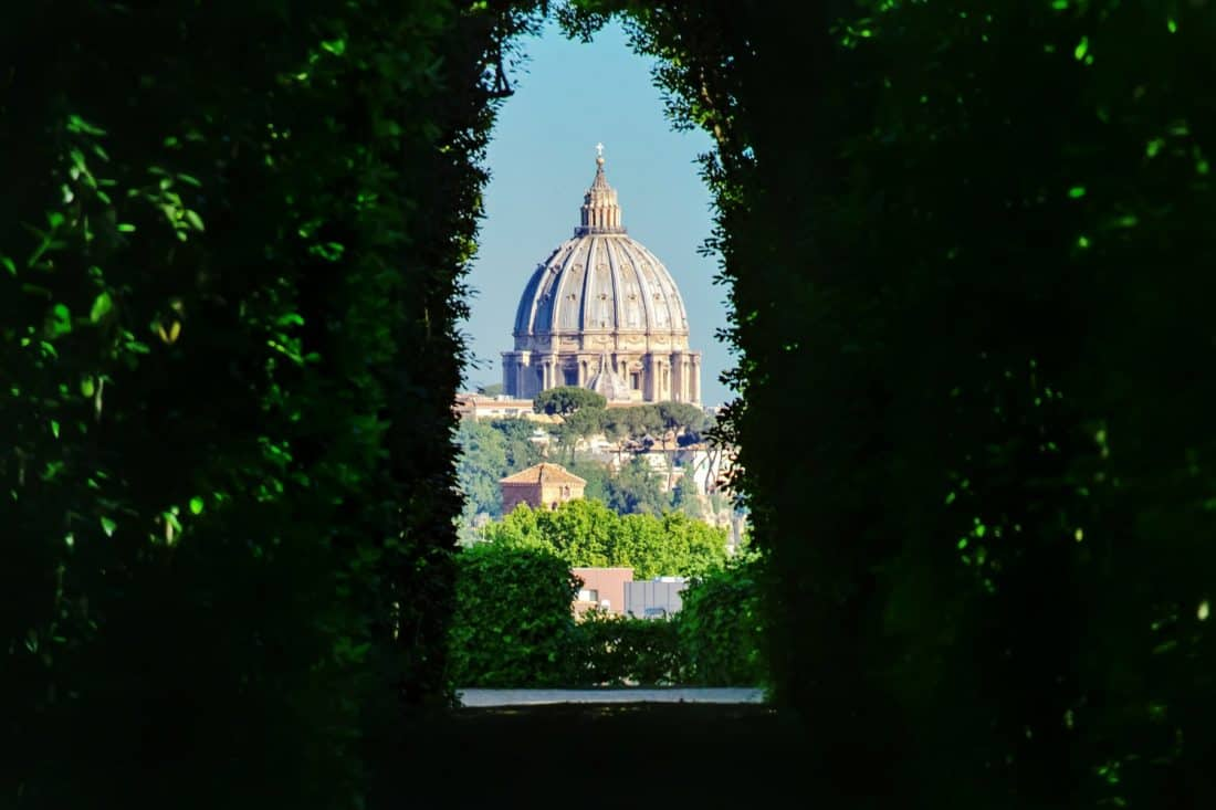 Aventine Keyhole view of St Peter's on the Aventine Hill in Rome