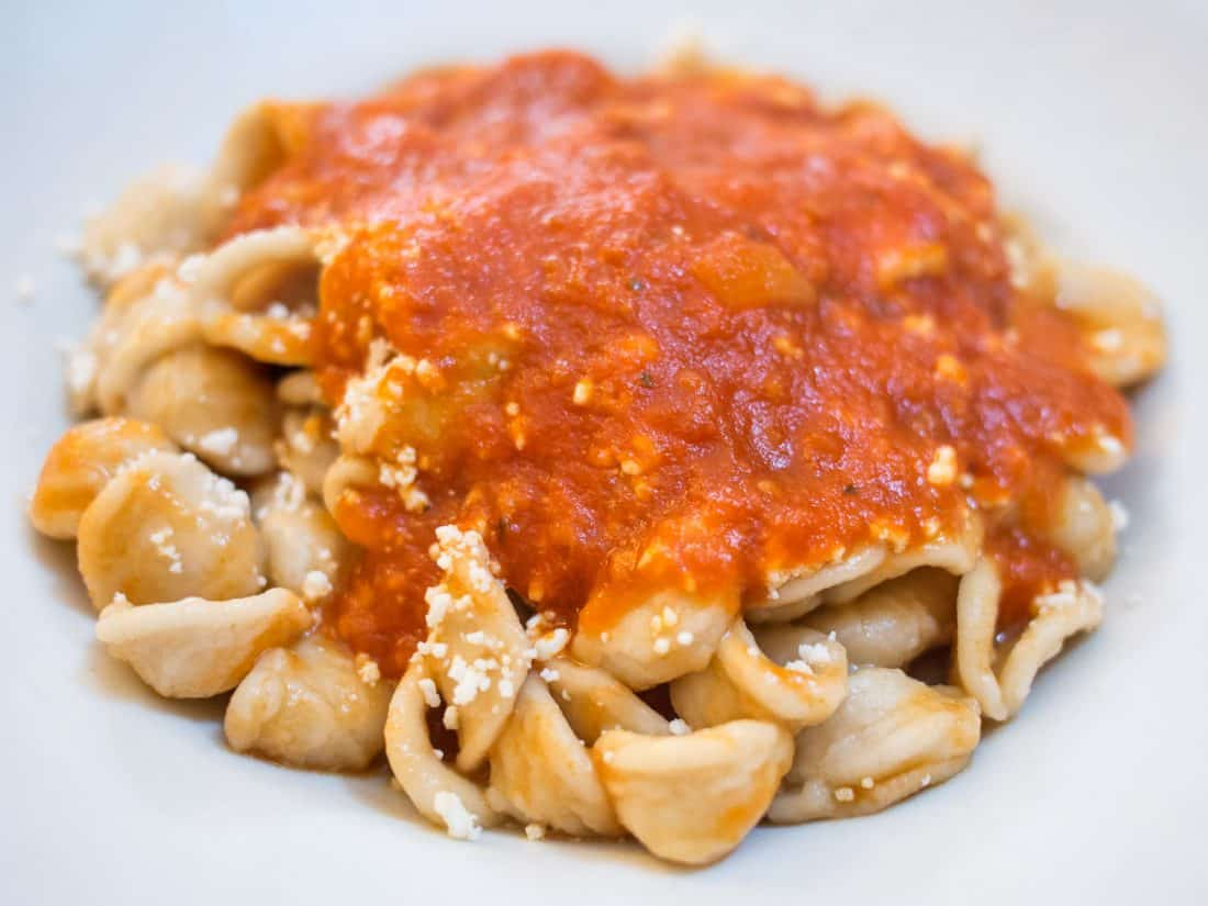 Orecchiette with tomato sauce at Osteria da Angiulino, one of the best Lecce restaurants and certainly the cheapest.