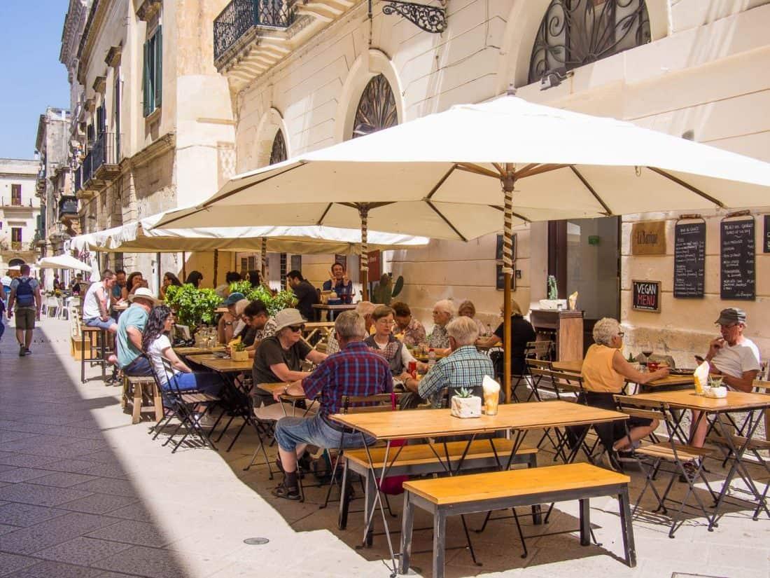 """""""Wine bar street"""" in Lecce near Basilica Santa Croce"""