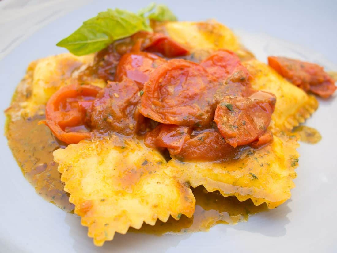 Burrata ravioli at La Cucina di Mamma Elvira, Lecce in Puglia