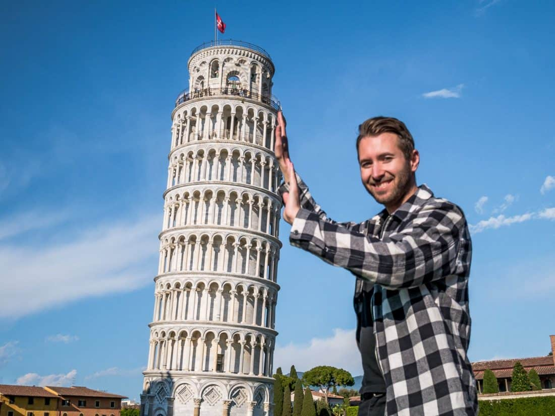 Fun photos at the leaning tower of Pisa, Italy