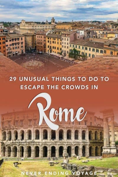 Rome is one of the most popular cities in the world for travel. It seems almost impossible to escape the crowds, especially in the summer. BUT! We know how. Here are 29 unusual things to do in Rome to escape the crowds no matter the season! #rome #rometravel #italy #italytravel #beautifulitaly #thingstodoinrome #europe #europetravel