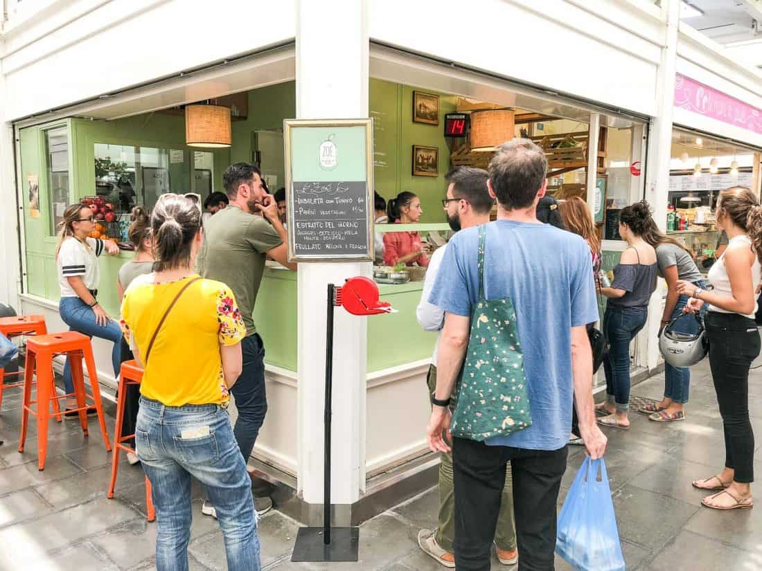 The busy Zoe salad stall in Testaccio market, Rome