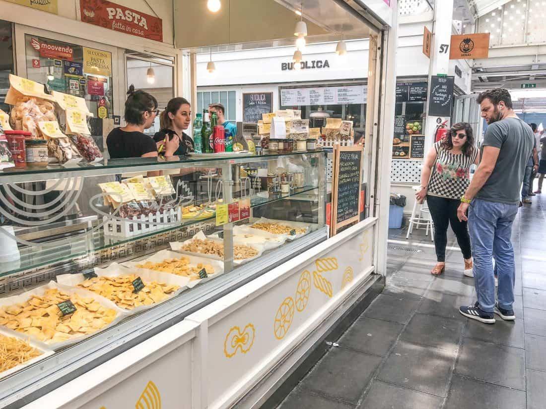 Le Mani in Pasta stall at Testaccio Market, Rome