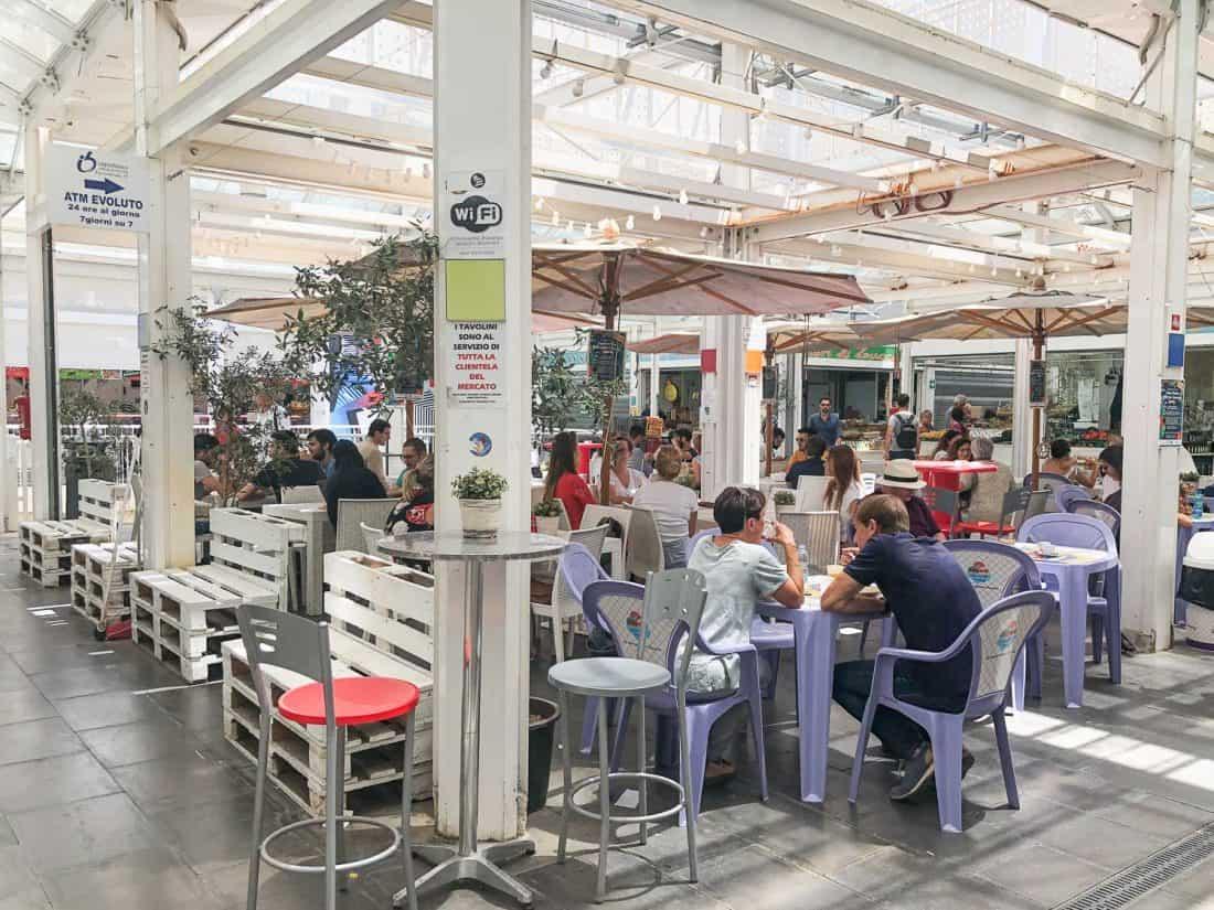 Central seating area in Testaccio market, Rome