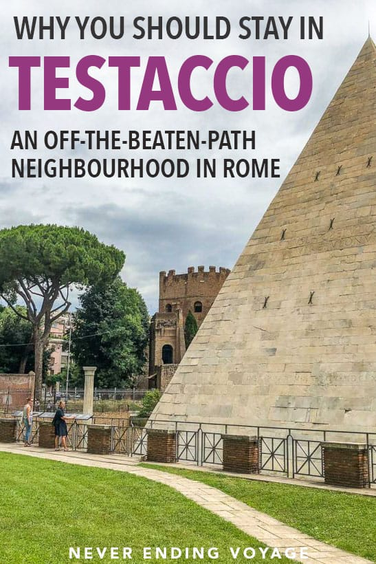 Is it possible to get off the beaten path in Rome, Italy? Yes! Here's a full travel guide to the neighbourhood of Testaccio. From its delicious market to interesting history, here's why you should stay here! #rome #testaccio #italy #offthebeatenpathitaly #europe #europetravel #italytravel