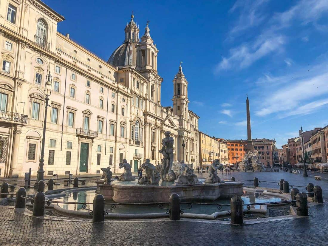 An empty Piazza Navona in Rome on a Sunday morning
