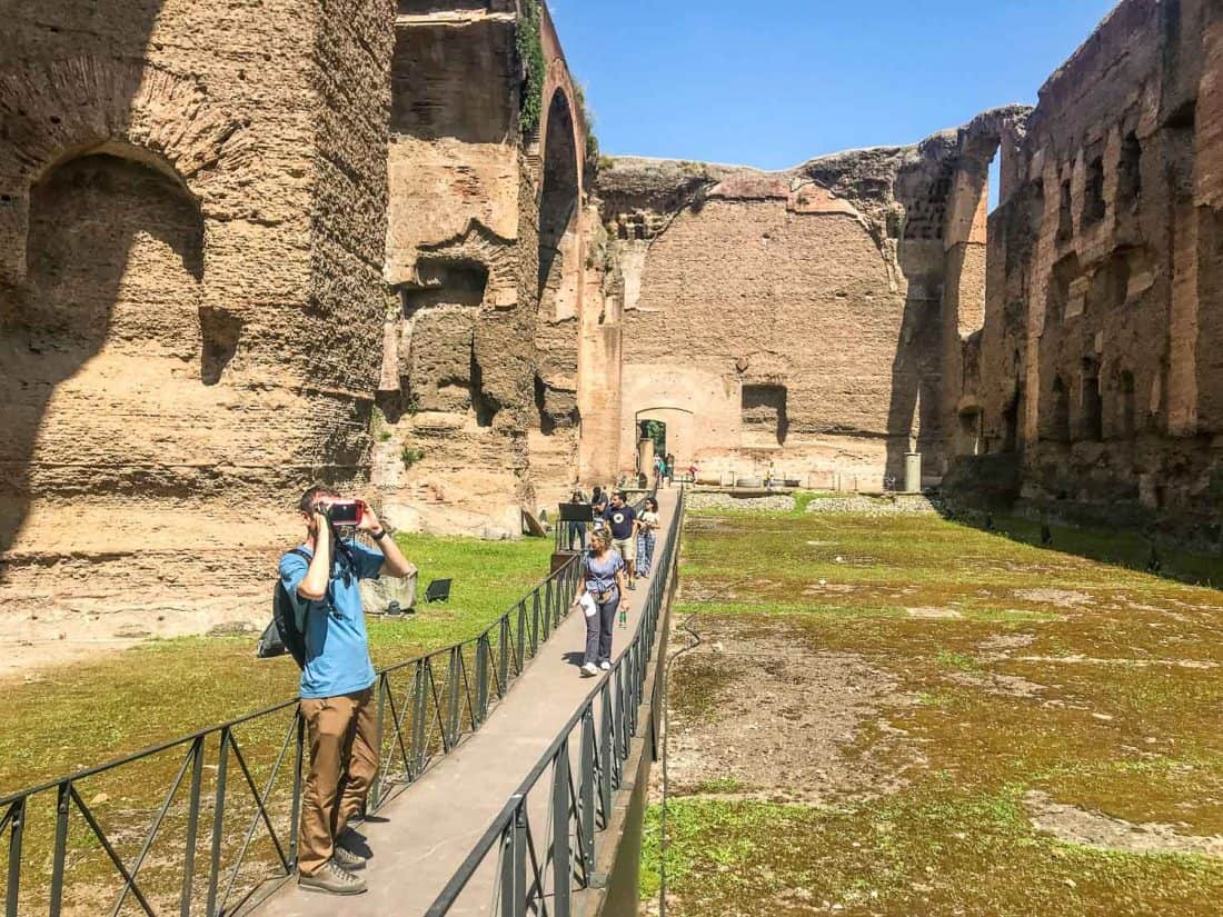 Simon with a VR headset at the Caracalla Baths in Rome