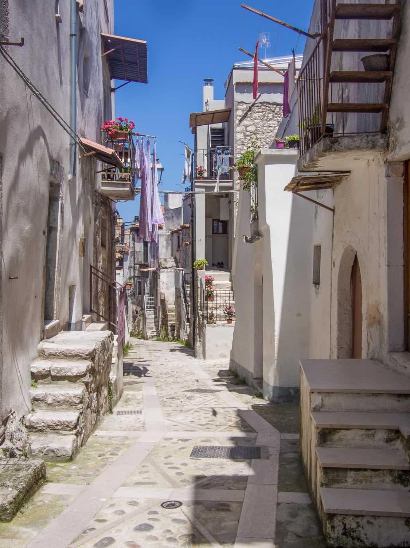 Street in the old town of Vico del Gargano in Puglia, Italy