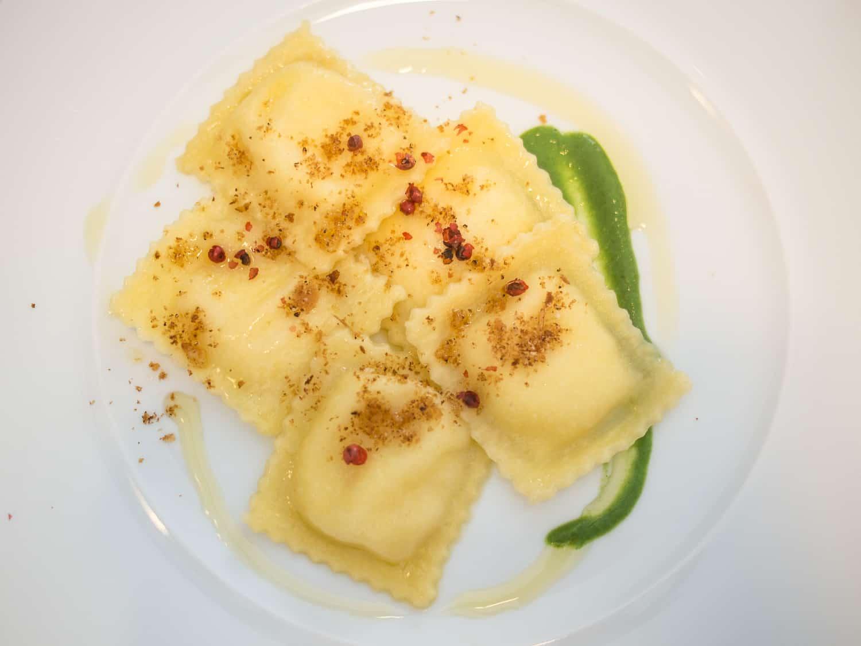 Vegetarian ravioli at Li Jalantuumene restaurant in Monte Sant'Angelo in the Gargano Italy