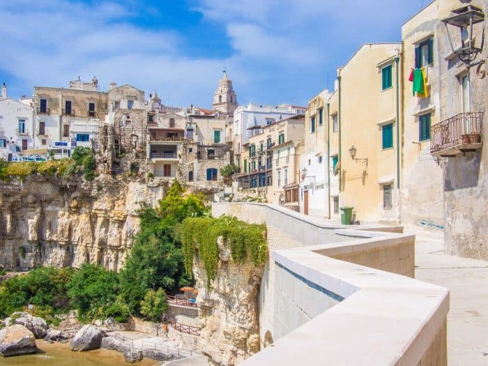 View from Via Ripe in Vieste old town in Puglia, Italy