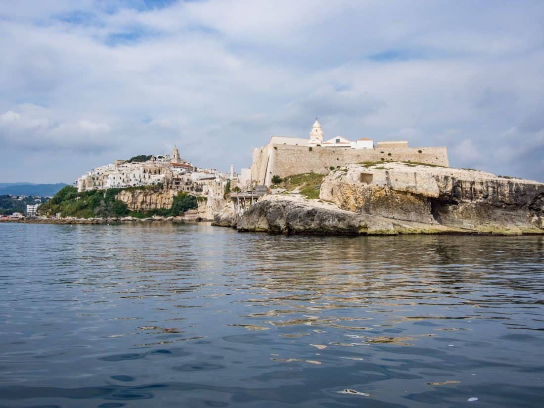 The view of Punta San Francesco and Vieste old town from our boat trip in Vieste Puglia
